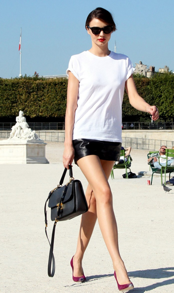 Leather skirt white tee – Modern skirts blog for you