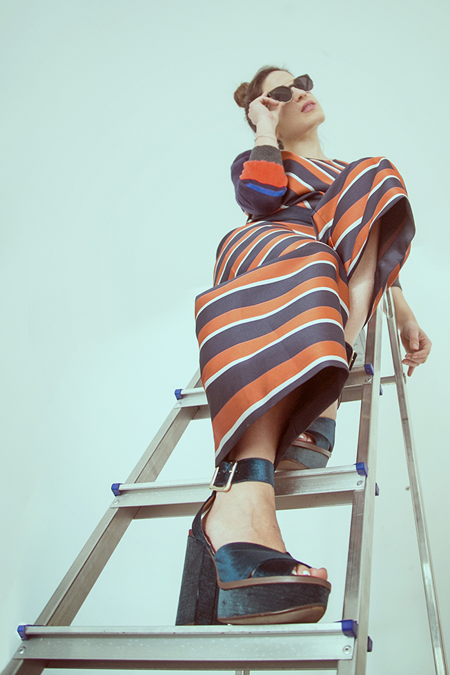 fashion photography striped jumsuit
