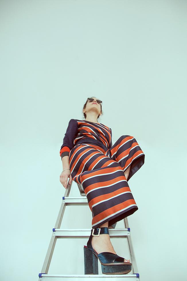 jucca striped jumpsuit