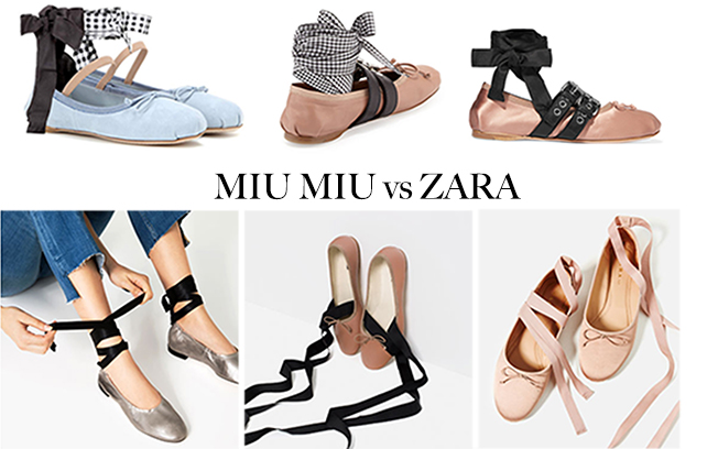 Miu Miu flats signed by Zara: from ballet to rock