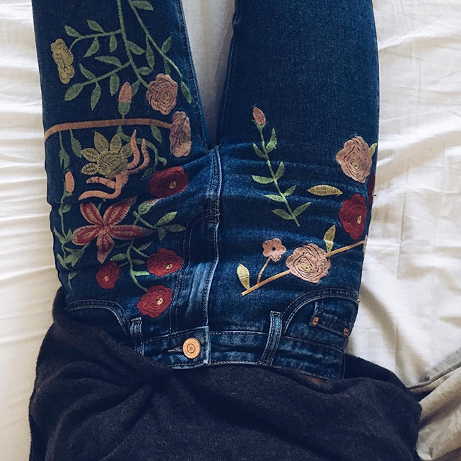 jeans ricami 2016, embroidered jeans, tendenza autunno inverno 2016