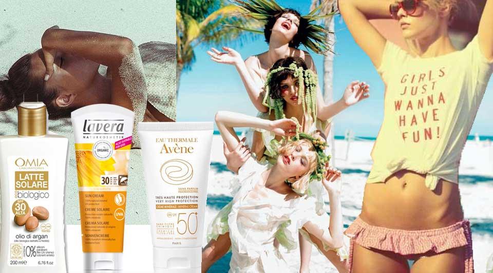 Creme solari filtro minerale, girls on the beach, Solar cream mineral filters, belleze al bagno, migliori creme filtro minerale, marinella rauso