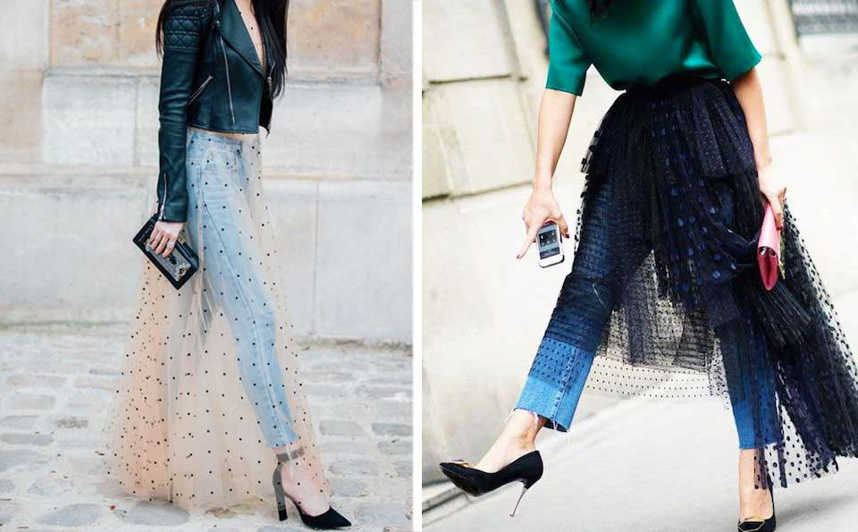 Gonna di tulle 2017, come indossare una gonna di tulle, gonna di tulle sui jeans, abito in chiffon sui jeans