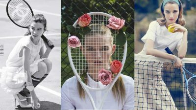 Playing tennis. One of the most fashionable sports, starting with the look