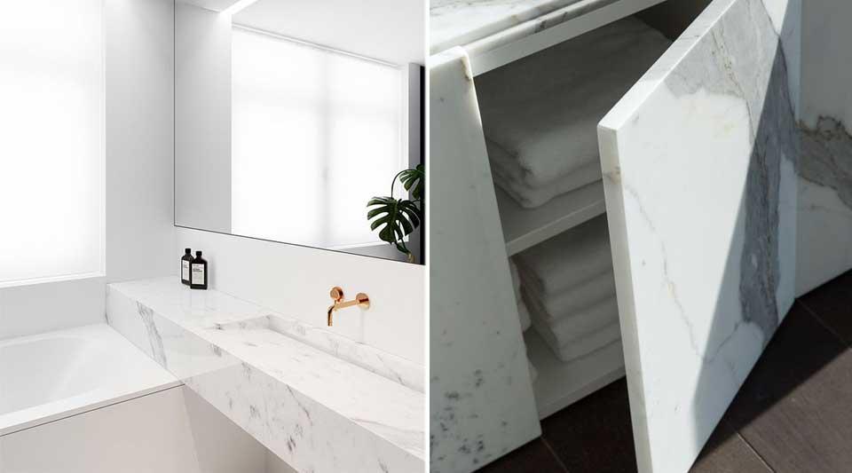 Calacatta marmo quasi bianco o gr s per interni di lusso for Archi interni moderni