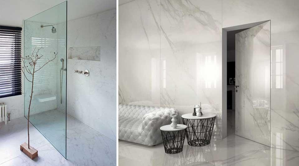 Calacatta marmo quasi bianco o grés per interni di lusso moderni