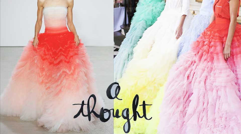 Fashion similarities. Maxi-sorbet for Oscar de la Renta & Giambattista Valli